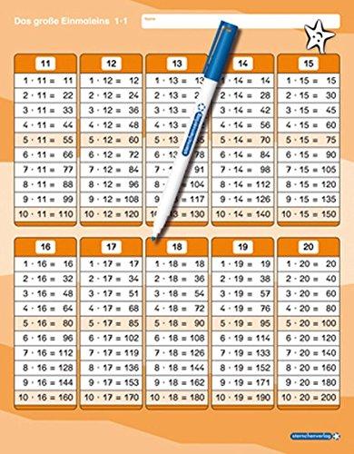 Das große Einmaleins mit Stift: stabile Tafel im großen Format, trocken abwischbar ohne zu schmieren und ohne Farbrückstände -