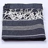 Hamamtuch Pestemal Baumwoll-Saunatuch, Strand-Tuch mit Fransen, dünn, saugstark, 100% Baumwolle, Farbe:Schwarz;Größe:Decke 150x200 cm