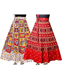 Mudrika Jaipuri Rajsthani Full Long Cotton Skirt For Girls And Women (Pack Of 2 Pcs)