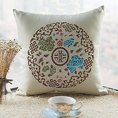 L'Mianma LongBao lattice style pastoral canapé coussin oreiller coussin oreiller avec coussin voiture sans core,45x45cm (enduire uniquement),Chalet orchid
