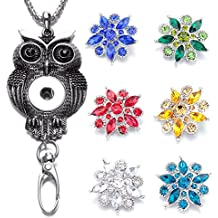 Sole Ebee Interchangeable Silver Retro Owl Necklace Lanyard ID Card Holder Click Button Necklace Key/ID badge Holder with 6pcs Alloy Rhinestone Click Button, Alloy