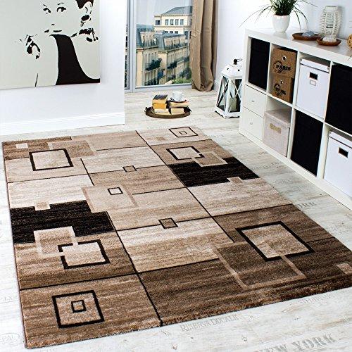 Elegant Designer Rug Checked Short Pile in Brown Beige Cream Mottled , Size:200x290 cm