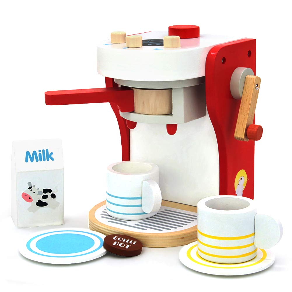 yoptote Macchina Caffe Legno Accessori Cucina Giocattolo Caffettiera Set  Caffe da Cucina Gioco Ruolo Giocattoli per Bambini 3 4 5 Anni - Giochi Legno