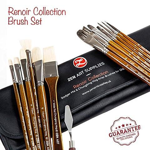 Professional Oil & Acrylics Artist Brushes - Long-lasting Badger/Japanese Synthetic blend, & Chungking hog - Lacquered Birchwood Long Handles - Elegant Rollup Case - 14 pcs Renoir Collection by ZenArt