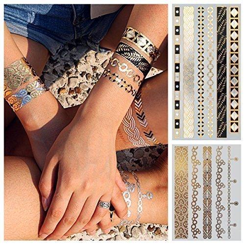 2-er Set, Gold Metallic Flash Tattoos GLAMOUR Doppelset, 11 sexy Armbänder und Fußkettchen - (W-106 + 165) - Glamour Sexy Beine