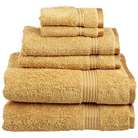 Superior Luxurious Soft Hotel & Spa Quality 6-Piece Towel Set, Made of 100% Premium Long-Staple Combed Cotton - 2 Washcloths, 2 Hand Towels, and 2 Bath Towels,