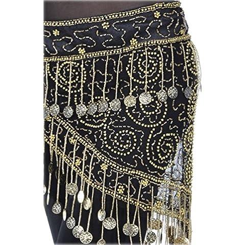 YouPue Dancewear de con lentejuelas y monedas Cinturón de Danza del Vientre para mujer Cinturón de cadera danza del vientre bufanda de