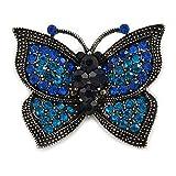 Unbekannt Avalaya Vintage inspiriert, Blau/Mint Schmetterling Brosche, Zinn, Metall, 40mm, rund