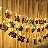 Vivibel LED Foto Clips Lichterketten-8 Modi 20 Clips 2M Fernbedienung Batterie Betrieben Stimmungsbeleuchtung für Schlafzimmer Hängende Bilder Kunstwerke Memos Fenster Zimmer (Warm-weiß)