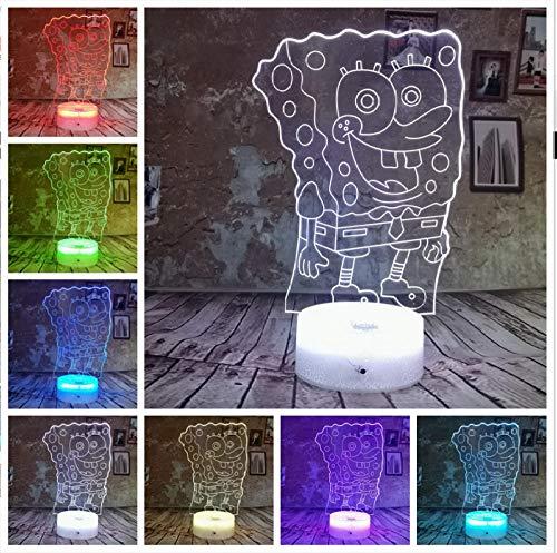 Cartoon SpongeBob Schwammkopf 3D Nachtlicht Lampada Farbverlauf 7 LED luce USB Baby Schlaf Lampe Wohnkultur Regali