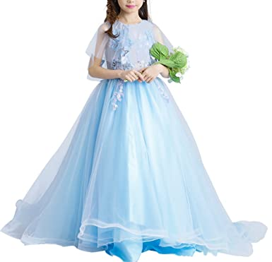 Girls Sky Blue Princess Dresses Flower Girl Dress Kids Wedding Birthday Party With Short Tail S1717 Amazoncouk Clothing