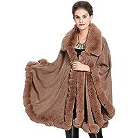 BEUHOME Donna Poncho in Finta Pelliccia di Cashmere Autunno Invernali Elegante Caldo Sciarpa Grande Scialle Collo con…