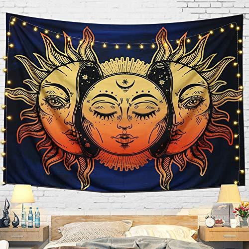 dremisland tapiz luna y sol pared psicodélico colgar tapices indio Mandala Bohemian Hippie Hippy manta de playa para dormitorio sala de estar Decor, Pattern 1, M/150x130cm(59x52inch)