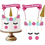 Party Propz Unicorn Happy Birthday Cake Topper for Girls Bday Decoration Theme/ Party Supplies/ Cake Decor Items…