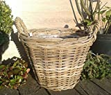 Pflanzkorb 35 cm Weide graubeige, kein Kunststoff !! Blumen Pflanzgefäß Blumentopf Korb Landhaus rund