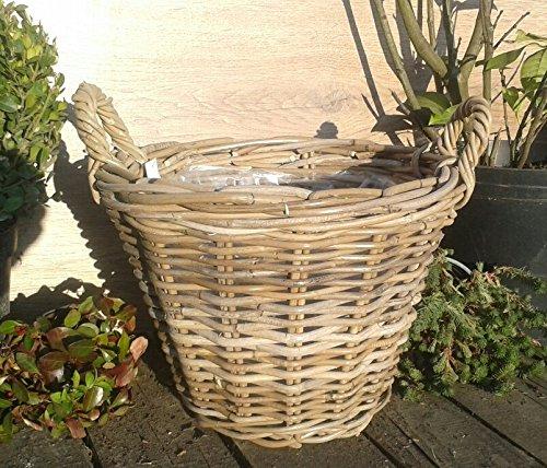 Pflanzkorb 42 cm Weide graubeige, kein Kunststoff !! Blumen Pflanzgefäß Blumentopf Korb Landhaus rund