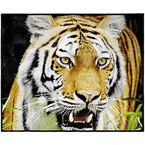 Piel sintética manta cama sofá suave visón highy calidad lujo, tigre, King (200cmX240cm)