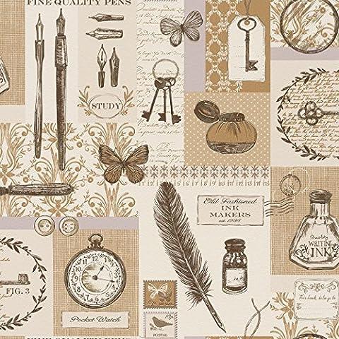 884807- Azulejos Más Plumas Beige Brown Relojes Mariposas Wallpaper