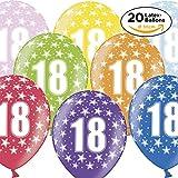 20 Luftballons zum 18. Geburtstag in bunten Metallic-Farben - Ballons mit Zahl für Luft & Helium in Top-Qualität ø30cm - Part
