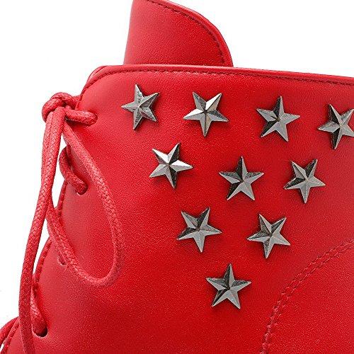 AgooLar Damen Pu Leder Rein Reißverschluss Hoher Absatz Stiefel Rot
