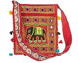 Tribe Azure Hobo Kreuz Body Elefant Rot Messenger Schulter Tasche Spiegel Bestickt Geräumig Damen Geldbeutel Tote Bunt Leger Alltag Hippie Boho Rot