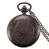 JewelryWe Vintage 24H Taschenuhr Retro Blumen Muster Herren Unisex Kettenuhr Analog Quarz Uhr mit Halskette Kette Pocket Watch Geschenk Bronz