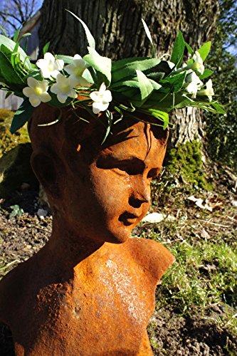 Antikas Sculpture de jardin Fille Buste de femme Tête, personnages, fer, acier