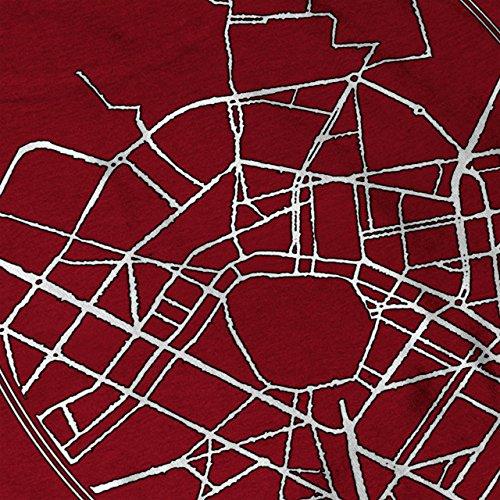 Valencia Stadt Karte Mode Stadt Karte Damen Schwarz S-2XL Muskelshirt | Wellcoda Rot