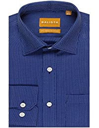 BALISTA MEN's BLUE SELF DESIGN FORMAL SHIRT