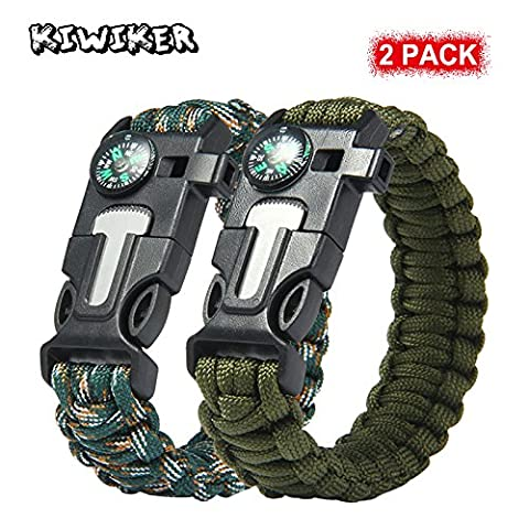 2 PCS PACK Multifunctional Paracord Bracelet, Kiwiker Outdoor Survival Kit Parachute Cord Buckle W Compass Flint Fire Starter Scraper Whistle for Hiking Camping Emergency More