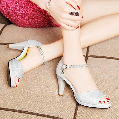 Estate moda donna sandali comodi tacchi alti,40 giallo White