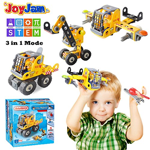 Joy-Jam Toys for 5-8 Year Old Boys, STEM Building Blocks Set, 3-in-1 Engineering Construction DIY Take Apart Puzzles, Toys for 6-7 Year Old Girls Boys Kids BSQ-1