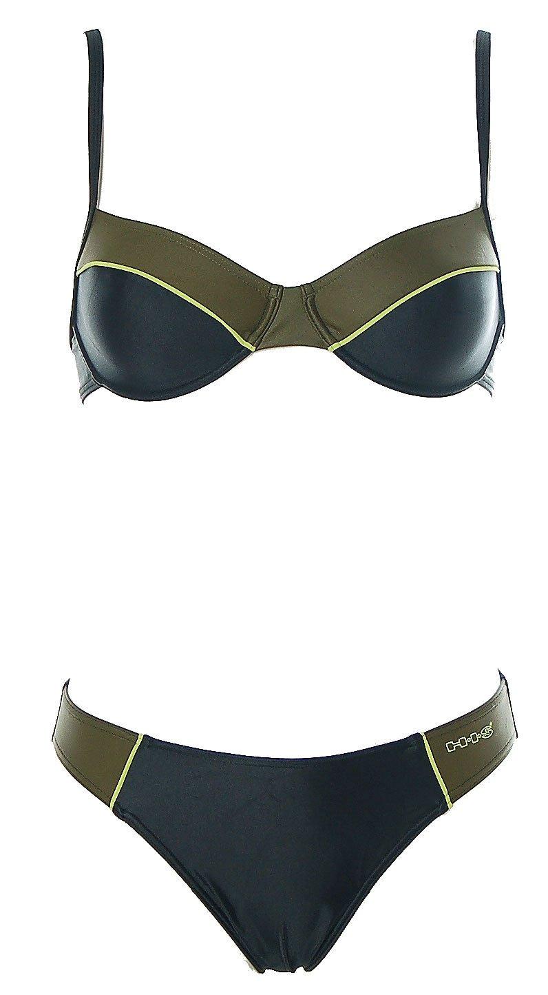 HIS Buegel Bikini Verde Oliva Nero–Look sportivo, Donna, nero, 36 C