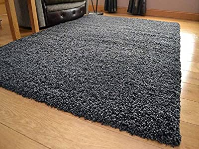 Shaggy Thick Modern Luxurious Charcoal Dark Grey Gray Rug High Pile Long Pile Soft Pile Anti Shedding Available in 9 Sizes - low-cost UK light store.
