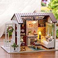 Indexp 3D DIY Wooden Puzzle Miniature Doll House, Christmas Creative Furniture Handcraft Jigsaw Educational Toy Gift Set (21x12.5x14.5cm, Living Room)