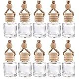 10 Packs Diffuseur Suspendu De Voiture Bouteilles De Parfum en Verre Vide Désodorisant Diffuseur Bouteille Pendentif Huile Pa
