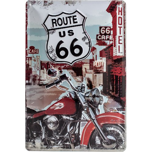 Nostalgic-Art 22164 US Highways - Route 66 Lone Rider, Blechschild 20x30 cm (Metall-schilder Der Route 66)