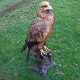 FDSt große Dekofigur Adler auf Stamm Vogel Tierfigur Raubtier König Gartenfigur Wetterfest