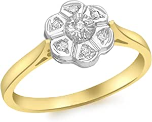 Carissima Gold Anello da Donna in Oro Giallo 9K con Diamante 0.055ct
