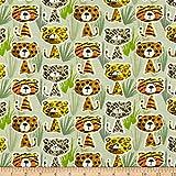 Hellgrünes Strickgewebe mit Tigern und Leoparden
