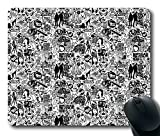 Comics Black And White Gaming Mouse Pad Personalized Hot Oblong Shaped Mouse Mat Design Natural Eco Rubber Durable Computer Desk Stationery Accessories Mouse Pads For Gift - Support Wired Wireless or Bluetooth Mouse