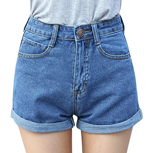 LAEMILIA Women Girl Denim Shorts Vintage Retro High Waist Blue Curling Short Jeans