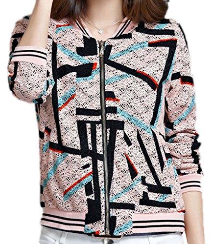 erdbeerloft - Damen Übergangsjacke mit abstraktem Muster, XS-3XL, Viele Farben Rosa