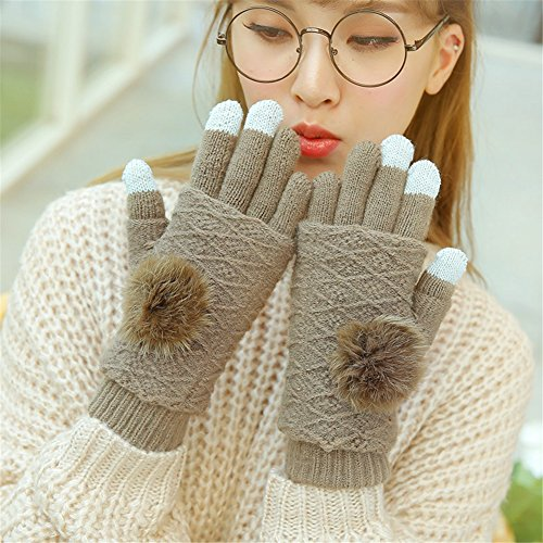 61Czk RoHsL. SS500  - Qearly Soft Knitted Gloves Winter Gloves Women's Gloves-Brown