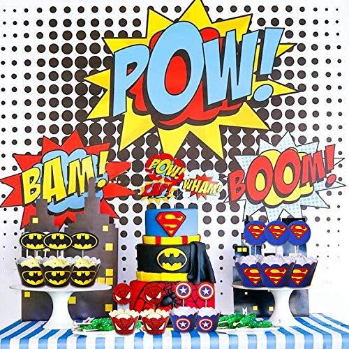61Czmu0cvJL - 96 piezas de superhéroes Cupcake Envoltorios Toppers Decoraciones de mesa para pasteles Artículos de fiesta 4 estilos-Spiderman Superman Batman Capitán Fiesta de cumpleaños Favores de decoración