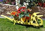 Offene Holz-Schubkarre, Gartendeko Karre zum Bepflanzen, Blumentöpfe, Pflanzkübel, Pflanzkasten, Blumenkasten, Pflanzhilfe, Pflanzcontainer, Pflanztröge, Pflanzschale, Schubkarren 100 cm mit Holz - Deko HSOF-100-GELB Blumentopf, Holz, hell amazon gelb zitronengelb neon neongelb mit Holzdach nicht nur für Passivhaus und Bio-Haus