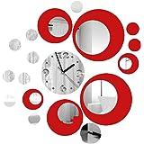 Itian Reloj de Pared de Metal con la Decoración Efecto de Espejo Moderno Etiqueta de la Pared de Diseño para Sala de Estar/Do
