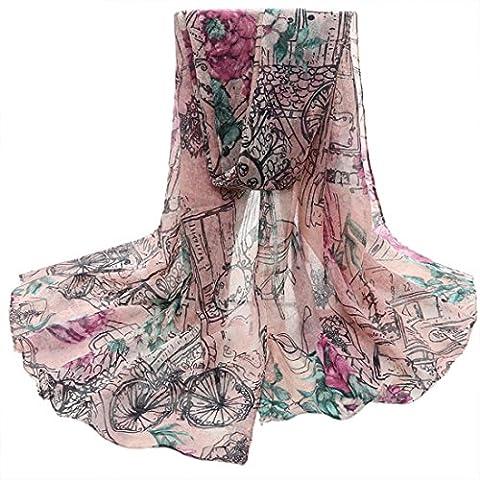 Transer ® Femelle Écharpes,Mode Femmes Fashion Design Fleur Imprimé Voile Stole Écharpes Long Neck Wraps Châle Écharpe Coloré Doux Cadeau (Rose)