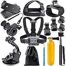 Neewer 12-In-1 - Acción Kit de accesorios de cámara para GoPro Hero 4/5 Sesión, Hero 1/2/3/3 + / 4/5, SJ4000 / 5000, Nikon y Sony Deportes DV en Natación Rowing Escalada Bike Riding Camping y más