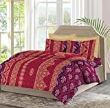 Bombay Dyeing Mimosaa 100 TC Cotton Double Bedsheet with 2 Pillow Covers - Marron